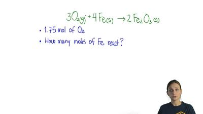 How many moles of iron react with 1.75 mol of oxygen gas? The equation  for th...