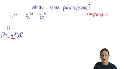 Which of these species (is/are) paramagnetic?  Ti4+          Fe2+          Zn°...