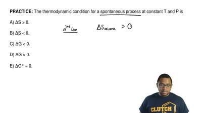 The thermodynamic condition for a spontaneous process at constant T and P is  ...