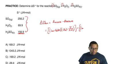 Determine ΔS° for the reaction SO3(g) + H2O(l) → H2SO4(l).                   S...