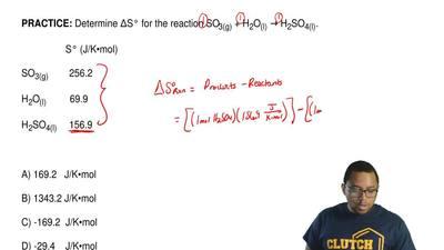 DetermineΔS° for the reaction SO3(g)+ H2O(l)→ H2SO4(l).          S...