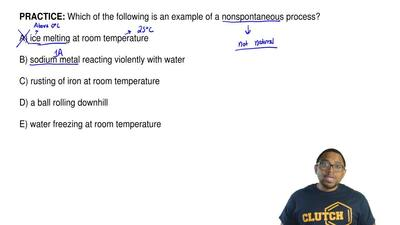 Which of the following is an example of a nonspontaneous process?  A) ice melt...