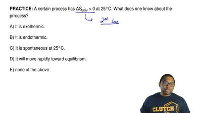 A certain process has ΔSuniv > 0 at 25°C. What does one know about the prro...