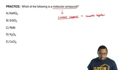 Which of the following is a molecular compound?  A) NaNO3  B) SrSO3   C) RbBr...