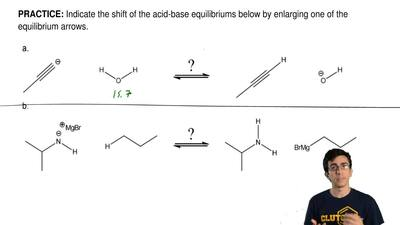 Indicate the shift of the acid-base equilibriums below by enlarging one of the...