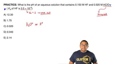 What is the pH of an aqueous solution that contains 0.150 M HF and 0.020 M HCl...