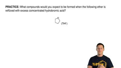 What compounds would you expect to be formed when the following ether is reflu...