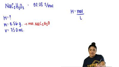 What is the molarity of a solution made by dissolving 8.56 g of sodium in acet...