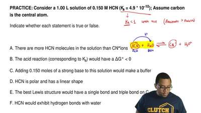Consider a 1.00 L solution of 0.150 M HCN (Ka = 4.9 * 10−10); Assume carbon is...