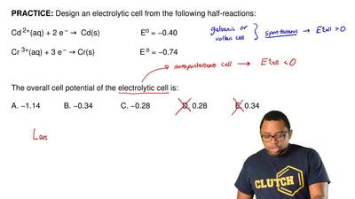 Design an electrolytic cell from the following half-reactions:  Cd 2+(aq) + 2 ...