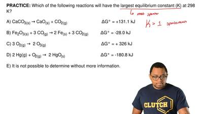 Which of the following reactions will have thelargest equilibrium constant (K...