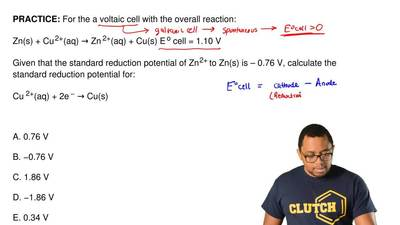 For the a voltaic cell with the overall reaction:  Zn(s) + Cu 2+(aq) → Zn 2+(a...