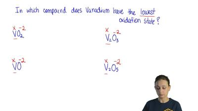 In which compound does vanadium have the lowest oxidation state?  (A) V2O5  (B...