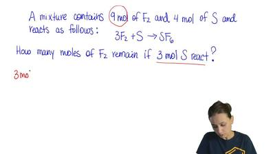 A mixture containing 9 mol of F2, and 4 mol of S is allowed to react. This equ...