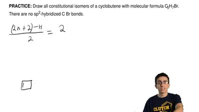Draw all constitutional isomers of a cyclobutene with molecular formula C 5H7B...