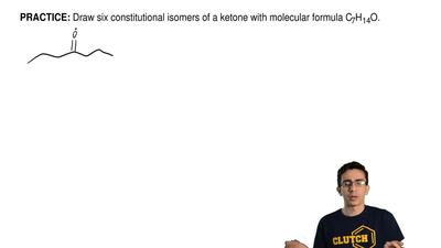 Draw six constitutional isomers of a ketone with molecular formula C 7H14O. ...