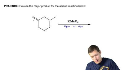 Provide the major product for the alkene reaction below.  ...