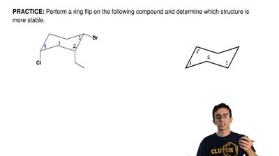Perform a ring flip on the following compound and determine which structure is...