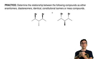 Determine the relationship between the following compounds as either enantiome...