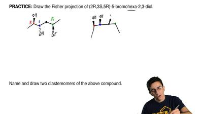 Draw the Fisher projection of (2R,3S,5R)-5-bromohexa-2,3-diol.                ...