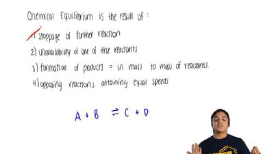 Chemical equilibrium is the result of  a) formation of products equal in mass ...
