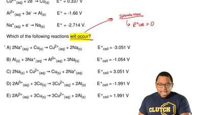 Given  Cu2+(aq)+ 2e-→ Cu(s)  E° = 0.337 V  Al3+(aq)+ 3e-→ Al(s)   ...