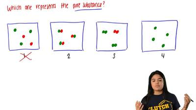 Which diagrams represent the pure substances?  (A) 1 and 2  (B) 1 and 3  (C) 2...