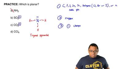 Which is planar?  a) NH3  b) SO32-  c) CO32-  d) CCl4 ...