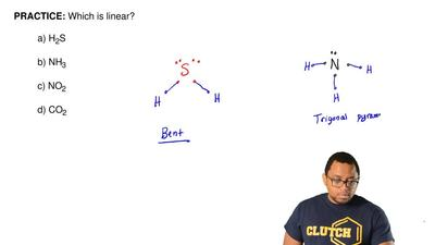 Which is linear?  a) H2S  b) NH3  c) NO2  d) CO2 ...