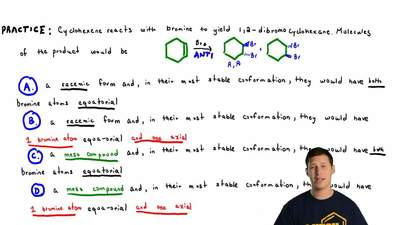 Cyclohexene reacts with bromine to yield 1,2-dibromocyclohexane. Molecules of ...