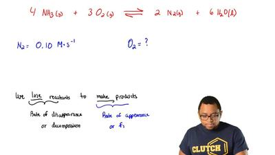 Consider this reaction.  4 NH3 (g) + 3 O2 (g) ⇌ 2 N2 (g) + 6 H2O (l)  If the r...