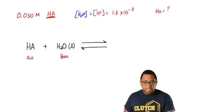 In a 0.050 M solution of a weak monoprotic acid, [H  +] = 1.8 x 10 –3 . What i...