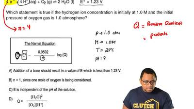 Consider this reaction.   4 e – + 4 H+ (aq) + O2 (g) ⇌ 2 H2O (l)     E° = 1.23...