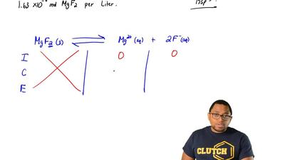 A saturated solution of MgF2 contains 1.6 x 10-3 mol of MgF2 per liter at a c...