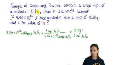 A sample of a compound of xenon and fluorine contains molecules of a single ty...