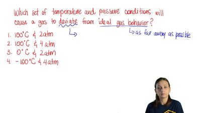 Which set of temperature and pressure conditions will cause a gas occupying a...