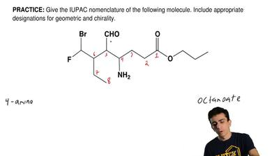Give the IUPAC nomenclature of the following molecule. Include appropriate des...