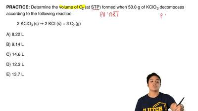 Determine the volume of O2 (at STP) formed when 50.0 g of KClO3 decomposes ac...
