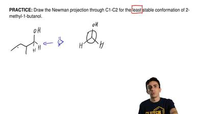 Draw the Newman projection through C1-C2 for the least stable conformation of ...