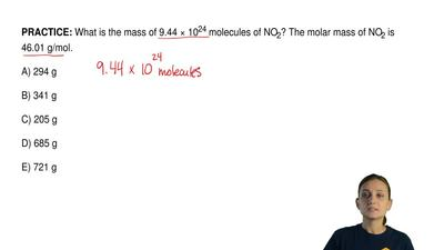 What is the mass of 9.44 × 10 24 molecules of NO2? The molar mass of NO2 is 46...