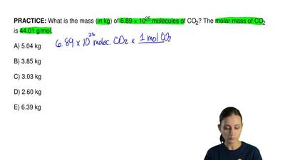 What is the mass (in kg) of 6.89 × 10 25 molecules of CO2? The molar mass of C...