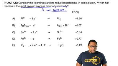 Consider the following standard reduction potentials in acid solution. Which ...