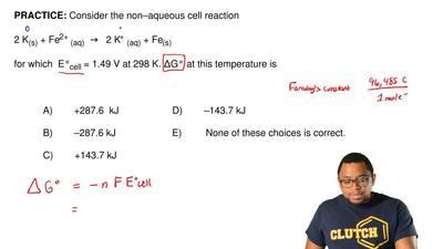 Consider the non–aqueous cell reaction  2 K(s) + Fe2+ (aq) → 2 K+(aq) + Fe...