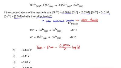For the reaction:                                      Sn    4+(aq)+  2 Cu+(aq...