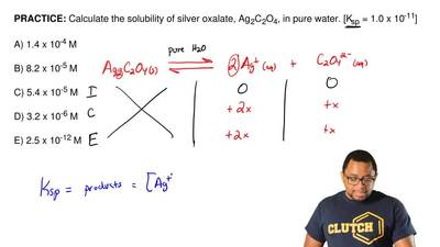 Calculate the solubility of silver oxalate, Ag2C2O4, in pure water. [Ksp= 1....