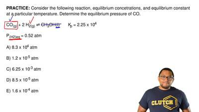 Consider the following reaction, equilibrium concetrations, and equilibrium co...