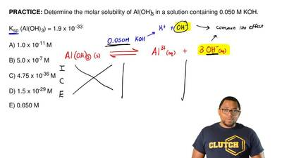 Determine the molar solubility of Al(OH)3in a solution containing 0.050 M KOH...