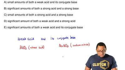 Identify a good buffer.  A) small amounts of both a weak acid and its conjugat...