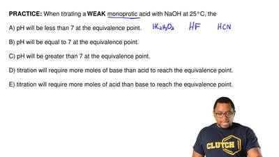 When titrating a WEAK monoprotic acid with NaOH at 25°C, the  A) pH will be le...
