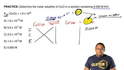 Determine the molar solubility of CuCl in a solution containing 0.050 M KCl.  ...
